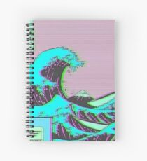 The Great Wave off Vaporwave Kanagawa Spiral Notebook