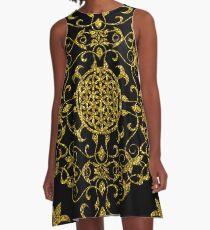 Gold Glitter Flower Of Life Design On Black A-Line Dress