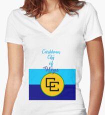 Caribean City of Hope Women's Fitted V-Neck T-Shirt