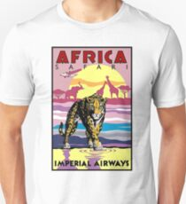IMPERIAL AIRWAYS : Vintage Fly to Africa Advertising Print T-Shirt