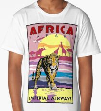 IMPERIAL AIRWAYS : Vintage Fly to Africa Advertising Print Long T-Shirt