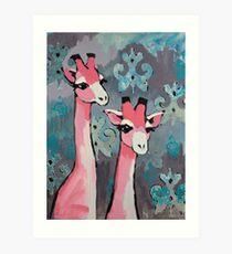 Pink Giraffes Art Print