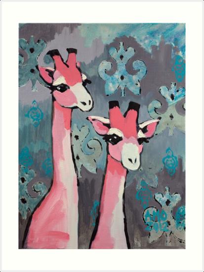 Pink Giraffes by AMOpainting