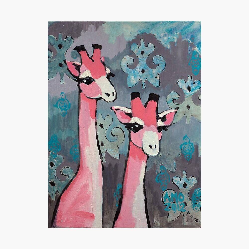 Pink Giraffes Photographic Print