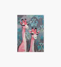 Pink Giraffes Art Board Print