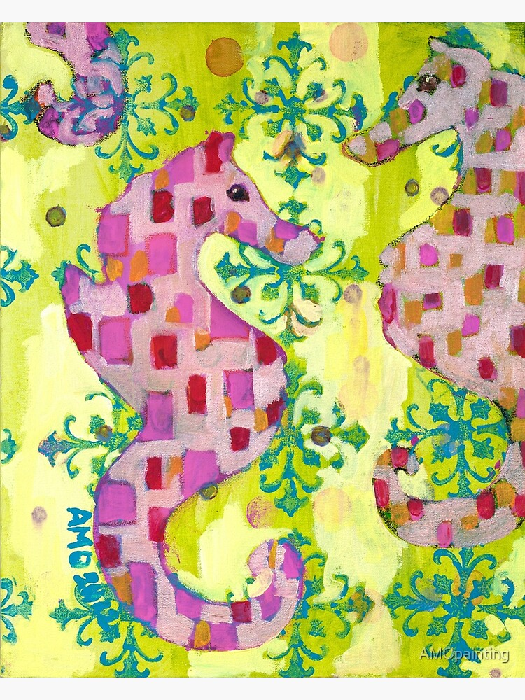 Pink Seahorses by AMOpainting