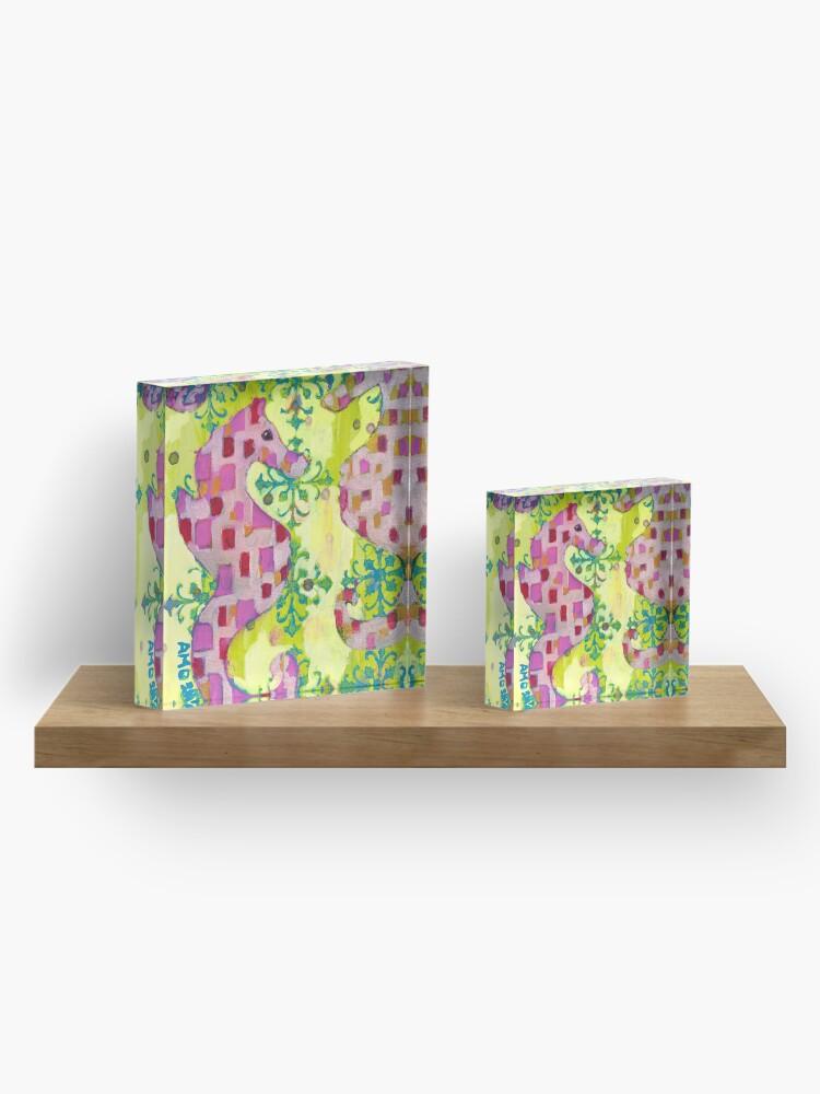 Alternate view of Pink Seahorses Acrylic Block