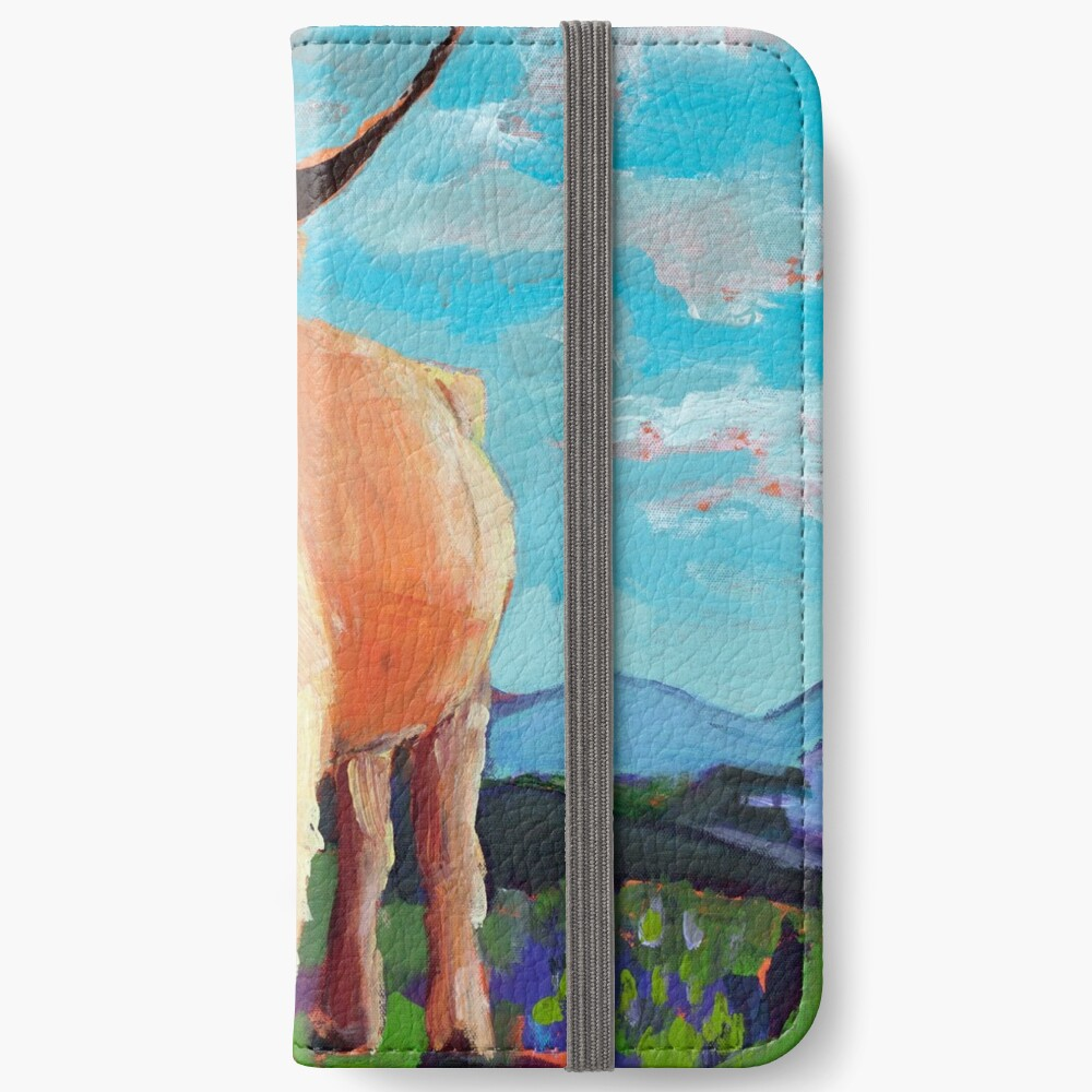 Orange Highland Cow with Mountains iPhone Wallet