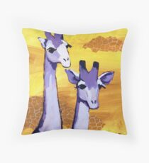 Purple Giraffes Throw Pillow