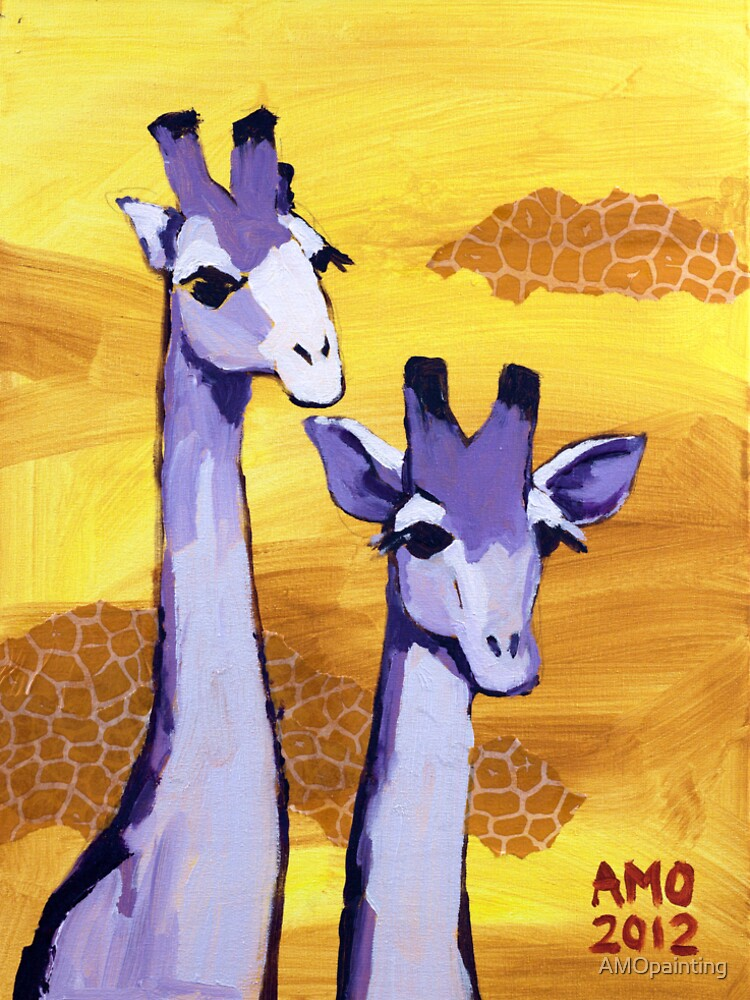 Purple Giraffes by AMOpainting