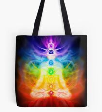 Chakras and energy flow on human body art photo print Tote Bag