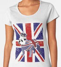 Camiseta premium de cuello ancho Bulldog Inglés y Corona