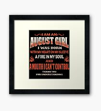 August Birthday Gift For Girl Born With Heart On Sleeve Framed Print