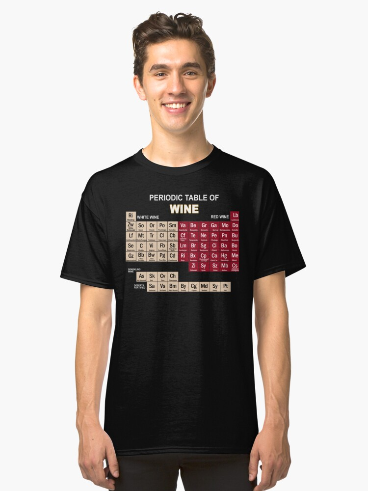 Funny Wine Shirts Periodic Table Of Elements Tee Gifts Classic T