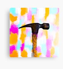 hammer with colorful painting abstract background in pink orange blue Canvas Print