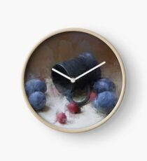 occasional still life with a glass holder and prunes Clock