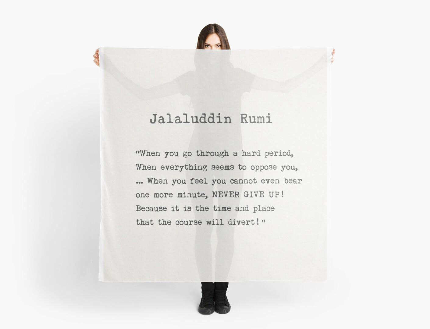 Jalaluddin Rumi Quote Scarf By Pagarelov