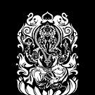 Tribal Ganesh (white) by TurkeysDesign