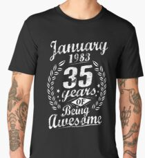 January 35th Bday 1983 35 Years Of Being Awesome Men's Premium T-Shirt