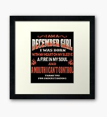 December Birthday Gift For Girl Born With Heart On Sleeve Framed Print