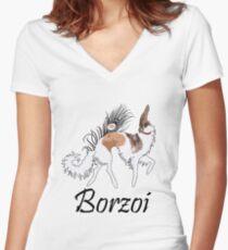 Sable Borzoi Women's Fitted V-Neck T-Shirt