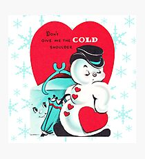 """Cold Shoulder"" - Snowman, Ice, Cube, Valentine's, Day, Card, Vday, Love, Romance, Couple, Red, Heart, Christmas, Holiday, Xmas, Cute, Vintage, Retro, Inspired Photographic Print"