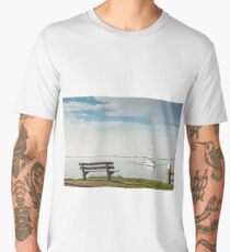 Scenic sea view with bench and sailboat Men's Premium T-Shirt