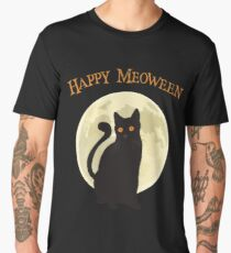 Spooky Halloween Happy Meoween Black Cat Under the Moonlight Art Graphics Design Men's Premium T-Shirt