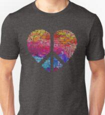 Peace Heart. Herz, Peace Symbol - Text Art T-Shirt
