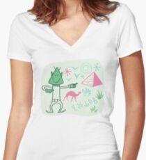 Globetrotter from outer space visiting the Pyramids. Women's Fitted V-Neck T-Shirt