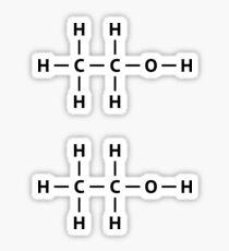 Ethanol molecular structure stickers, set of two Sticker