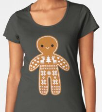 Sweater Pattern Gingerbread Cookie Women's Premium T-Shirt