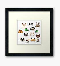 Forest animals pattern Framed Print
