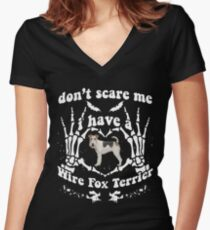 Wire Fox Terrier Halloween Women's Fitted V-Neck T-Shirt
