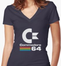 Commodore 64 Logo Merchandise Women's Fitted V-Neck T-Shirt