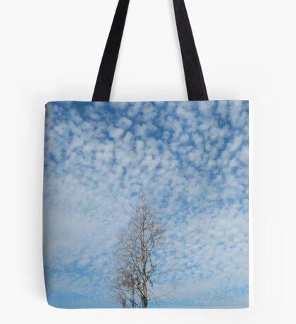 Cypress Under a Popcorn Sky Tote Bag