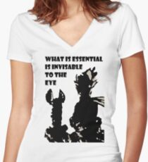 The little prince and the fox - QUOTE - sepia Women's Fitted V-Neck T-Shirt