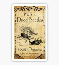 Vintage label, pure dried beetles, 100% organic Sticker