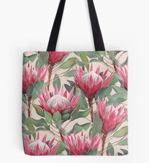 Painted King Proteas on Cream  Tote Bag
