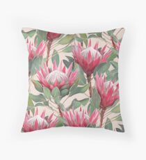 Painted King Proteas on Cream  Throw Pillow