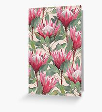 Painted King Proteas on Cream  Greeting Card