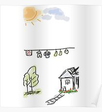 Laundry under the sun doodle Poster