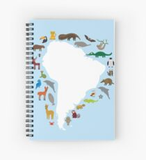 South America White Map with Animals Spiral Notebook