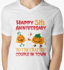 5th Wedding Anniversary T-Shirt For Couples On Halloween. Men's V-Neck T-Shirt