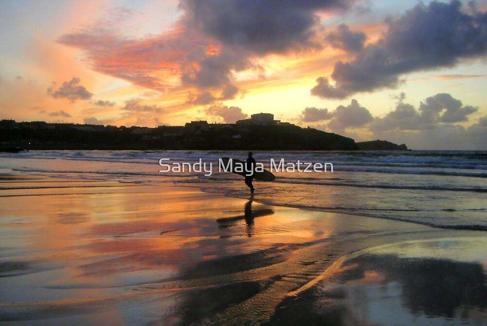 surfer silhouette at sunset by Sandy Matzen