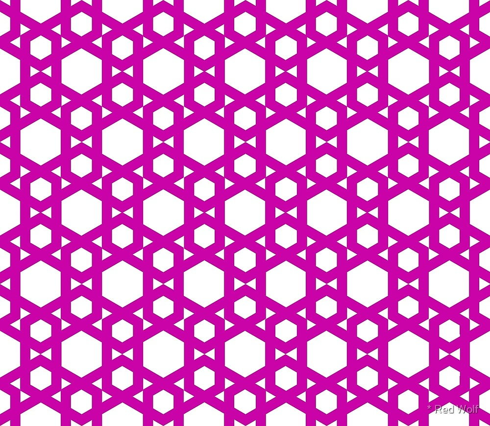 Geometric Pattern: Hexagon: Pink by * Red Wolf