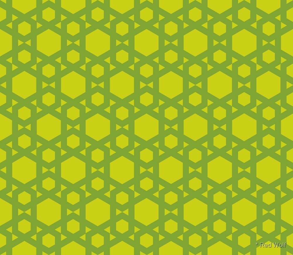 Geometric Pattern: Hexagon: Green by * Red Wolf