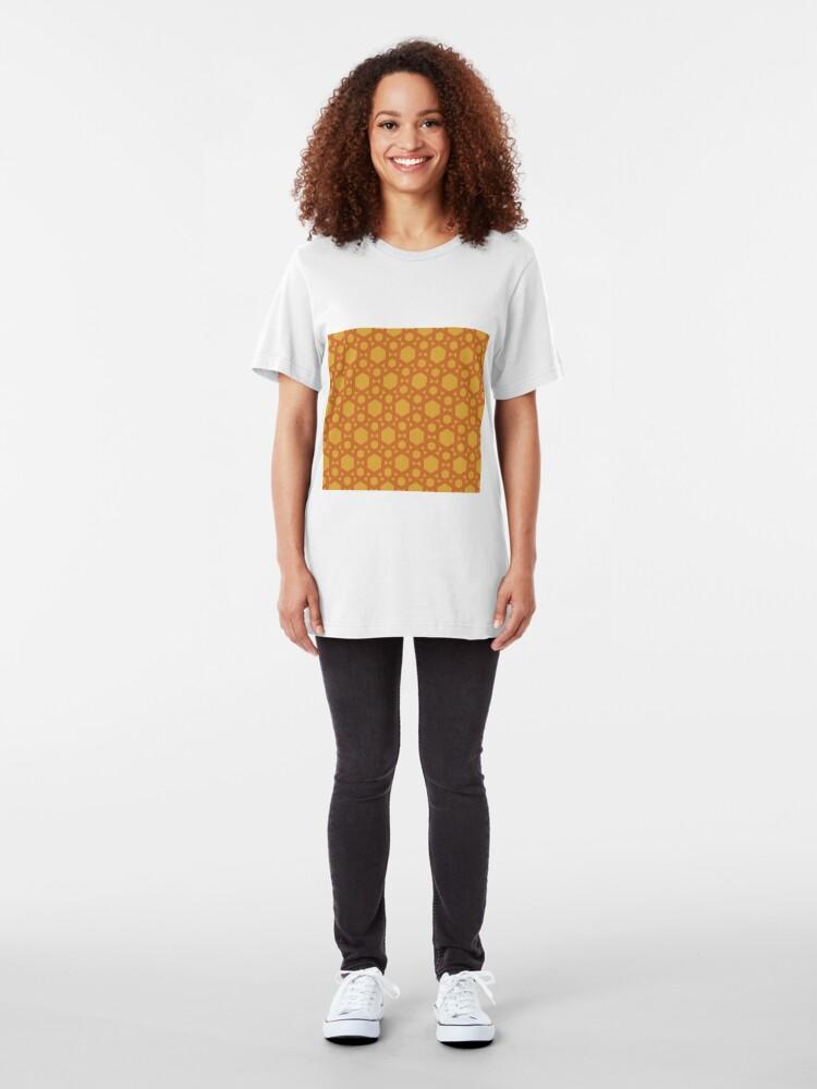 Alternate view of Geometric Pattern: Hexagon: Yellow Slim Fit T-Shirt