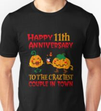 11th Wedding Anniversary T-Shirt For Couples On Halloween. Unisex T-Shirt