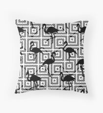 B&W Geometric Flamingos #redbubble #decor #buyart Throw Pillow